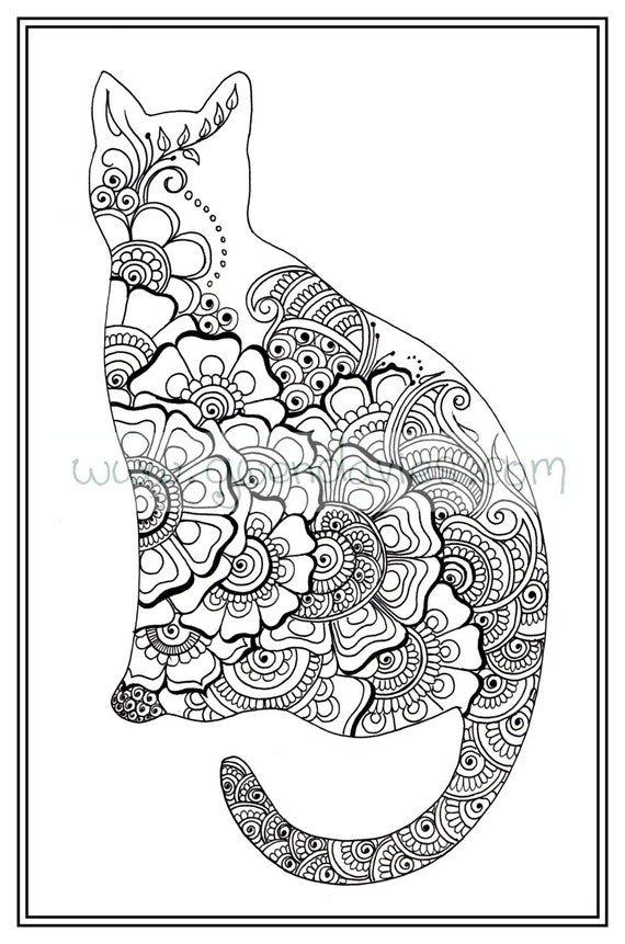 Adult Colouring In PDF Download Cat Henna Zen Mandalas Flower