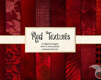 Red Digital Paper, red textures, red distressed textures, grunge grungy backgrounds, vintage burgundy rose scrapbook paper instant download