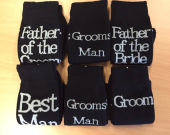 6 pack - Wedding socks for the Groom & Team Groom.