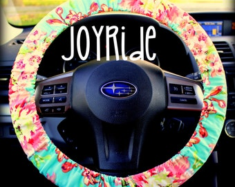 Tula Bliss Steering Wheel Cover Amy Butler Floral Tula Accessories Grip Tight With Wristlet Keyfob Option Tropical Blue and Coral Designer