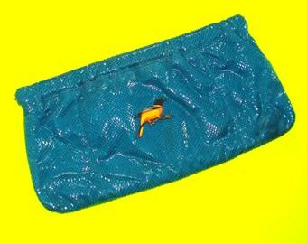 Baltimore Oriole Grossbeak Bird Deep Turquoise Faux Snakeskin Blue Rockabella Vintage Refurbished One of a Kind Handbag Large Clutch Purse