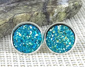 Turquoise Druzy Earrings - Bridesmaid Gift  - Stud Earrings - Aqua - Drusy - Jewelry - Earrings - Druzy Jewelry - Flower Girl Gift - Druzy