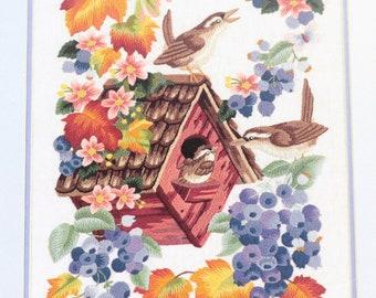 Lillian Egleston And BABY MAKES THREE Crewel Embroidery Kit Birds Birdhouse