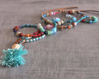 Bohemian Buddha Necklace,  Gypsy Long Necklace,  Hippie Beaded Necklace,  Boho Tassel Necklace,  Free Shipping