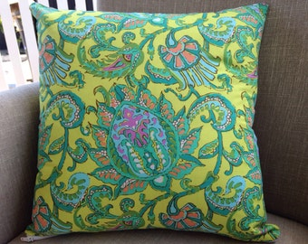 "Amy Butler Soul Blossoms ""Lemon Dancing Paisley"" 45cm square cushion cover/pillow with EST French linen backing"