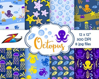 Sale Sea digital paper Under the sea scrapbook paper Nautical Pattern fish digital paper Octopus Digital Background blue paper