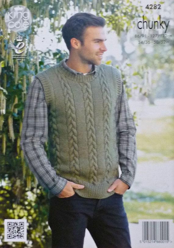 Mens Knitting Pattern K4282 Mens Sleeveless Round Neck Cable Jumper