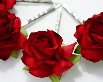 Red Rose Floral Hair Pin Set/ Traditional/ Bridal/ Wedding Hair Accessories/ Bridesmaid Bobby Pin/ Wedding Flower Pins