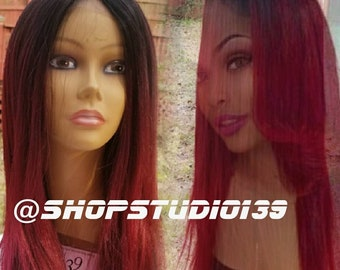 Human hair burgundy ombre lace front wig 22 inches made to order