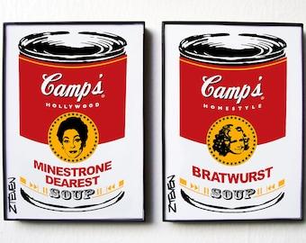 Mommie Dearest Joan Crawford themed Pop Art Soup framed art by Zteven