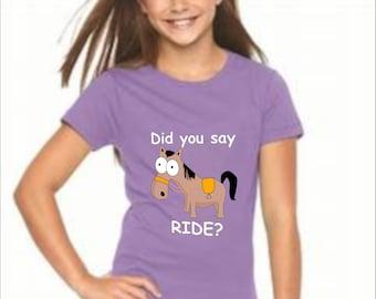 Girl's T-Shirt, girl's short sleeve tee, horse, horse lover, pony, ride
