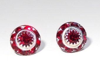 Vintage Red Crystal Post Earrings - created with Swarovski® Crystal