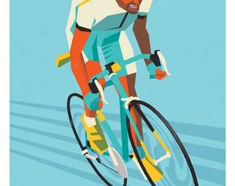 Marco Pantani, Cycling print, Tour de France, Cycling Print