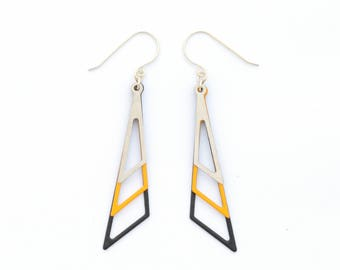 Geometric Earrings, Elegant Earrings, Triangle Earrings, Black-Yellow-Silver Earrings, Office Earrings, Fashion Earrings, Urban Earrings