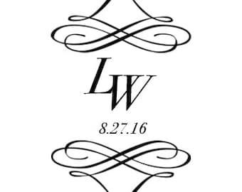 Custom Bride and Groom Wedding Logo Monogram Name Design for Signs or Gobo