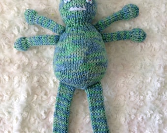 Bluebizzle the Blue and Green Knitted Bug Monster Toy Made with Soft Blue and Green Mixed Yarn