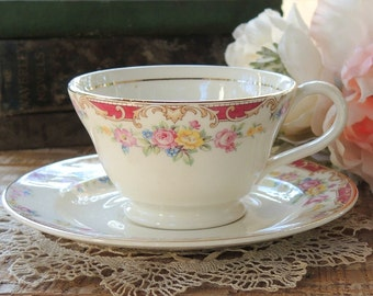 Edwin Knowles Lido Tea Cup and Saucer Set, Cottage Style, Tea Party Set, Weddings, Housewarming Gift Ca 1940s