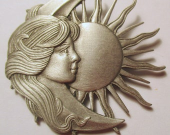 Vintage JJ pin- Woman Goddess Moon Sun Celestial-Jonette Jewelry brooch - Artifacts 1986 collectible- unique gift under 20