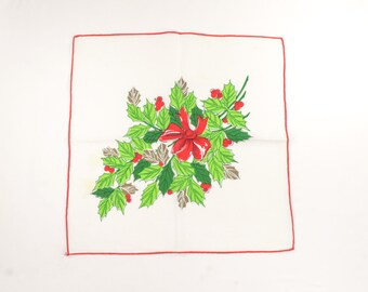Vintage Christmas Napkins -  Red and Green Holly with Gold - Leaves, Berries, and Red Bow - Set of 8 Xmas Dinner or Cocktail Napkins