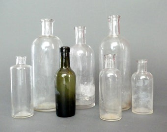Medicine bottles with apothecary Victorian french 19th - 7 antique apothecary medicine bottles - Decoration collection
