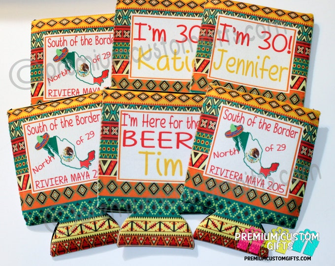 Set of 6 Mexican Rug Coolers - Fun Vacation Coolers Designed Your Way - Birthday Coolers - Many Designs Available - Just Ask!