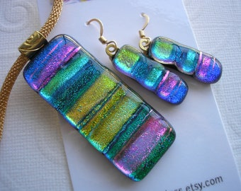 Blue Green Pendant and Earrings Set, Matching Jewelry, Dichroic Fused Glass,  14K GF Earwires, Spring Jewelry, Fuschia Purple Gold, Dichro