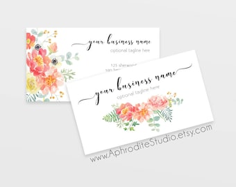 Floral business cards - Flower business cards - Watercolor business cards - Printable business cards - feminine business cards for boutique