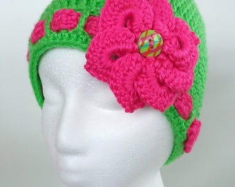 Lime Green and Hot Pink Crochet Hat With Flower and Funky Button Detail ***FREE SHIPPING***