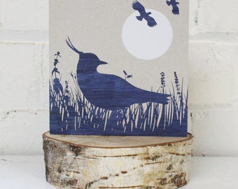 Greetings Card, Blue Moon Lapwings, Unique card, Blue print, grey background