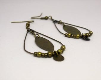 Bronze/Shuttle/circle/beads/gift/hippie chic/bohemian drop shape earrings