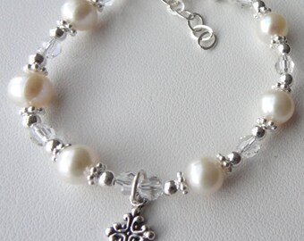 Baptism  Cross  Freshwater Pearl Children Bracelet, Christening Bracelet, First Communion Bracelet, Confirmation Bracelet