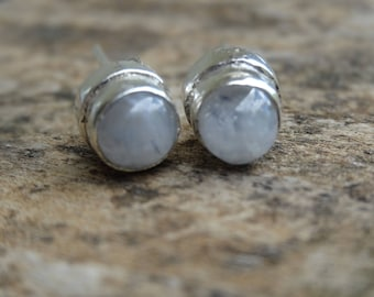 Sterling Silver Natural Rainbow Moonstone Gemstone Stud Earrings - Sterling Silver Stone Earrings - Natural Stone Earring -