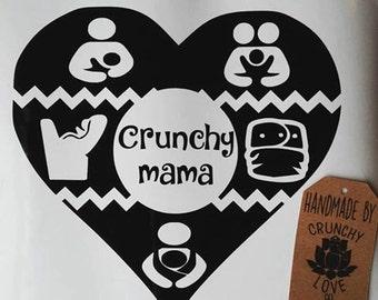 Crunchy Mama Vinyl decal - customizable! babywearing, breastfeeding, intact, equality, cosleeping, bottle feeding, cloth diapers,rear facing