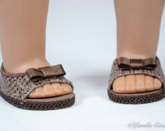 Chocolate Mocha Brown Peeptoe SHOES Sandals Ballet Flats in LACY Vinyl With BOW Trim for American Girl or 18 inch Doll