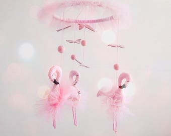 Pink flamingo baby mobile tulle for Baby girl nursery gift  Pink flamingo decor Butterfly mobile Carousel