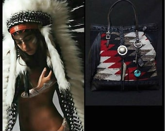 The Navajo Dream Tote, Montage by Ivonne Camacho/@absolutmoderne, recycled chaps leather, Navajo Blanket, bone