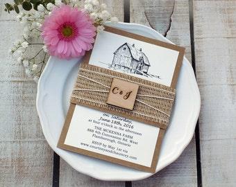 Barn Wedding Invitation Rustic Wedding Invitations Wooden
