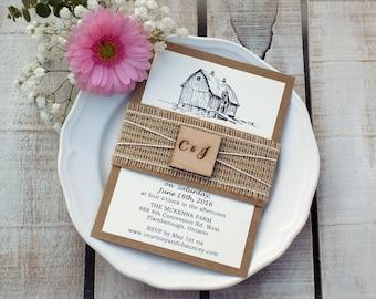 Barn Wedding Invite Farm Invitation Farm Wedding Rustic Wedding Invitation Script Invite Burlap Invitation Rustic Invitation Wedding Invite