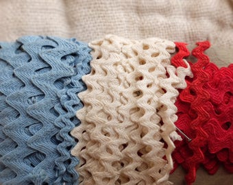 Vintage French ric rac ribbon trim in red, white & blue, slim and wide, national colours ,doll clothing, lingerie, clothing children craft