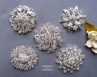 "5 Large Rhinestone Brooch Lot 2"" or Larger Pearl Crystal Button Pin Wedding Bouquet Brooch Bouquet Embellishment Decoration Invitation BR153"