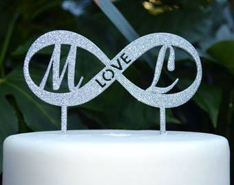 Love and Infinity Cake Topper - Wedding Custom Initials Personalized Name Cake Topper
