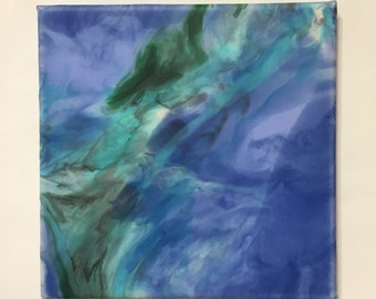 Original Acrylic Painting on Canvas, Blue and Green Abstract