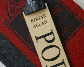 Edgar Allan Poe Caricature wooden Bookmark | FREE shipping in the UK | gift for book lovers | bookworm | author bookmark | books | bookish