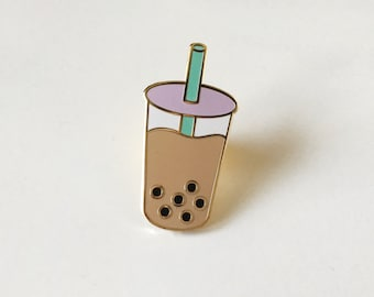 Boba milk tea pin