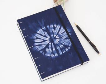 Yoga Journal - 144-Page Unlined Journal Handmade with Shibori Fabric Cover - Great Yoga Gifts!