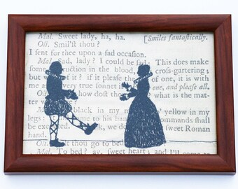 Classic Literature - Shakespeare's Twelfth Night Silhouette Framed Embroidery Illustration.