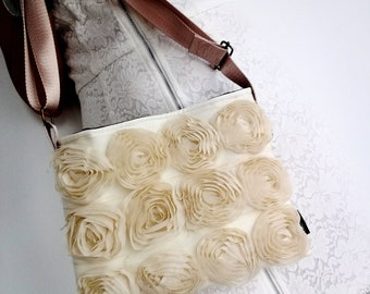 Ladies romantic clutch bag with gold strap - handmade
