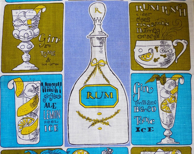 Vintage tea towel Cocktails unused.
