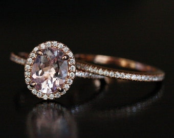 Pink Morganite Engagement Ring Bridal Ring Set in 14k Rose Gold with Morganite Oval 9x7mm