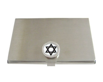 Bordered Star of David Business Card Holder